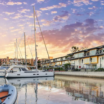 Dusk over the harbor at our waterfront communities at The Villa at Marina Harbor in Marina del Rey, California