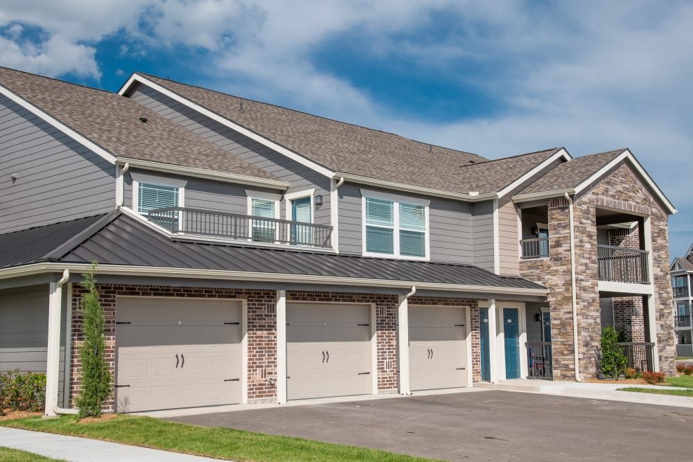 Attached garages and townhomes at Cottages at Crestview in Wichita, Kansas