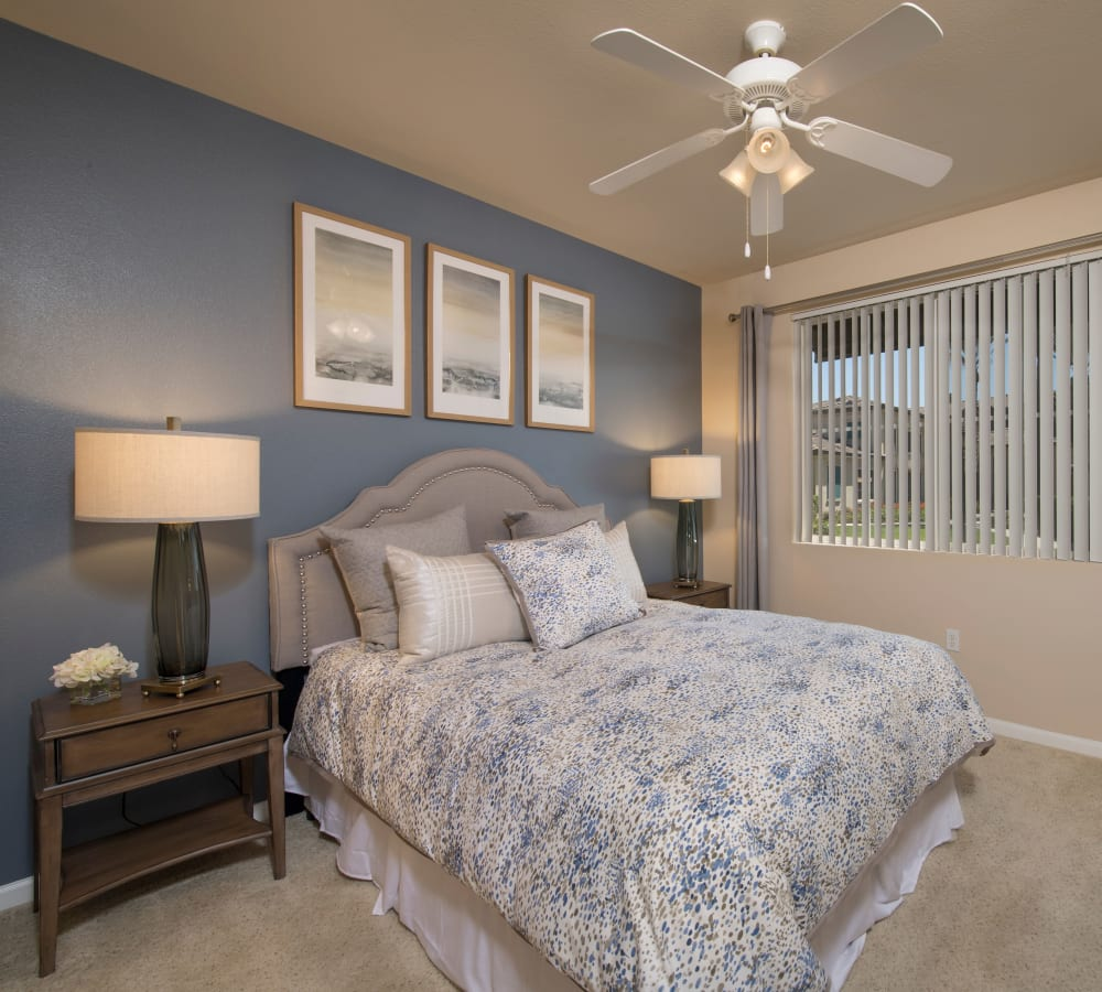 A spacious bedroom with plush carpeting at Esplanade Apartment Homes in Riverside, California