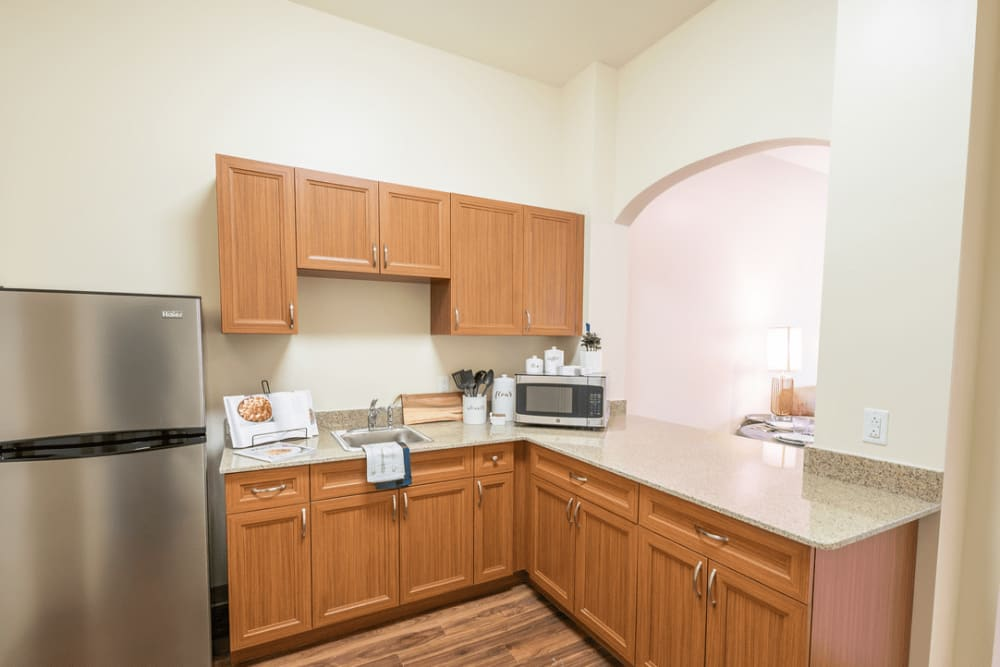 An apartment kitchen at Harmony at Morgantown in Morgantown, West Virginia