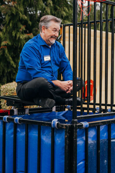 Tacoma's General Manager Rob volunteers to be in the dunk tank!
