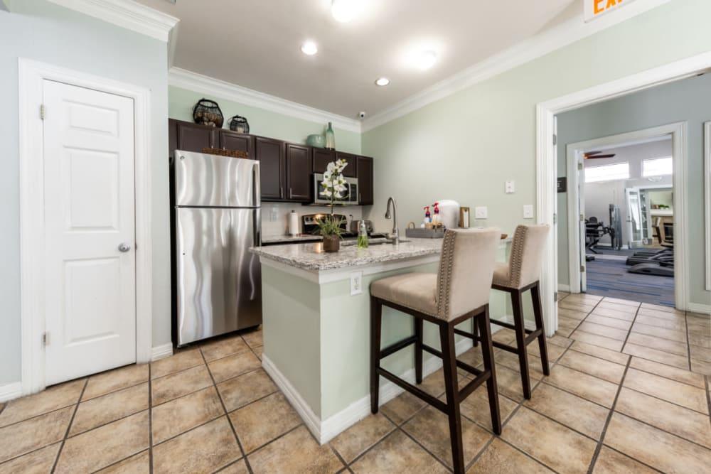 Community kitchen at Marquis at Ladera Vista in Austin, Texas