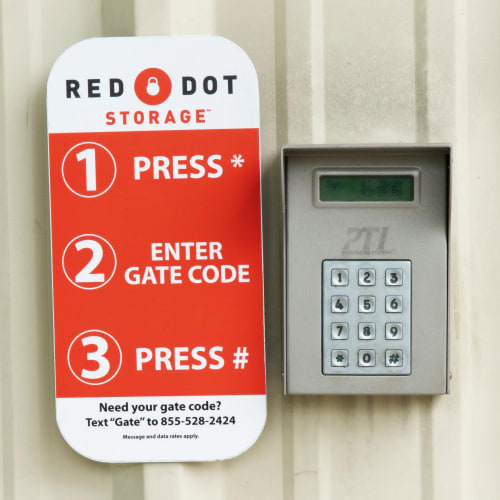 Keypad with instructions to access secure facility at Red Dot Storage in Ponchatoula, Louisiana