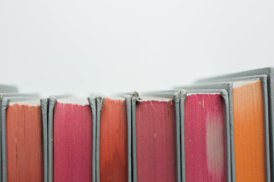 Closeup of a row of schoolbooks at Sofi Belmont Hills in Belmont, California