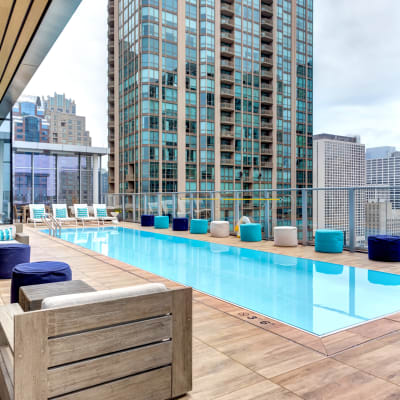 Outdoor pool deck at Residences at 8 East Huron in Chicago, Illinois
