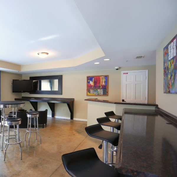 Bar seating in the resident clubhouse lounge at City Plaza in Atlanta, Georgia
