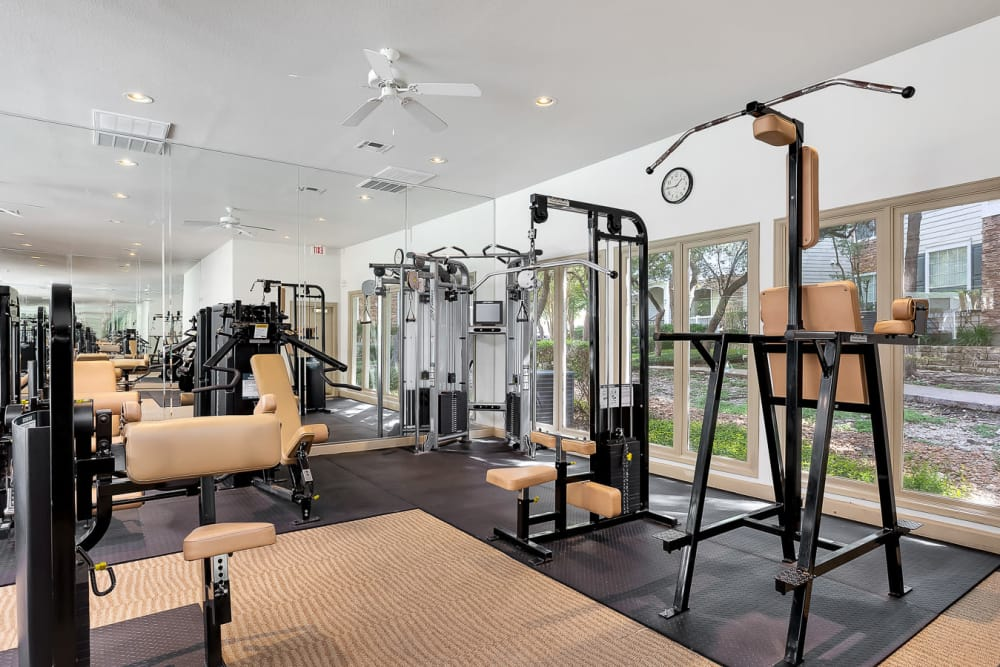 Modern fitness center at The Lodge at Westover Hills in San Antonio, Texas