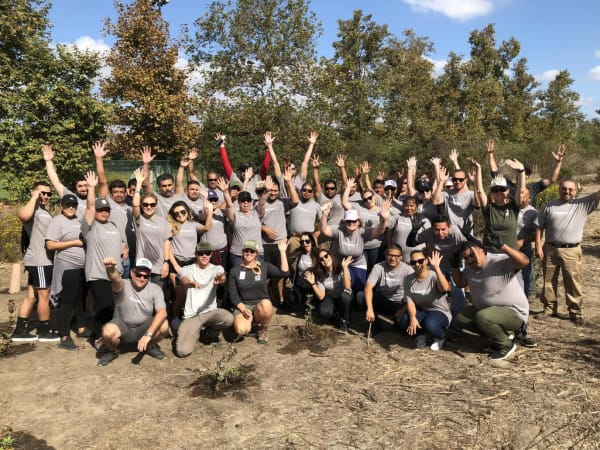 The Sequoia team at a giving back to the community event near Tower 737 Condominium Rentals in San Francisco, California