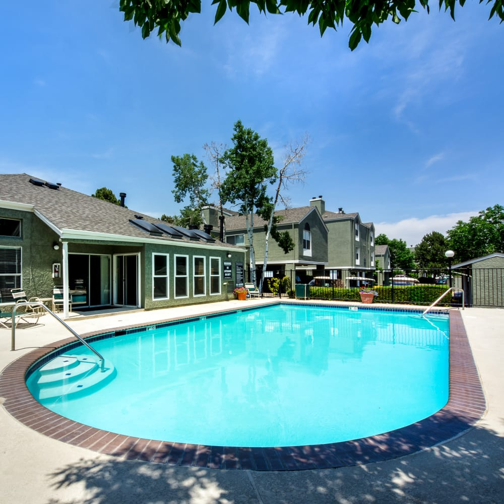 Sparkling swimming pool at Waterfield Court Apartment Homes in Aurora, Colorado