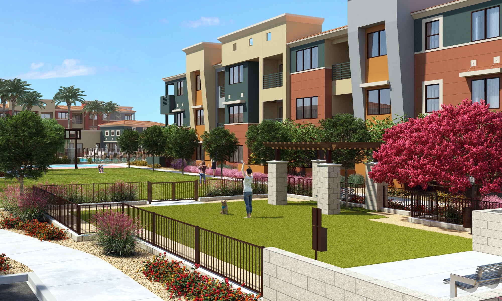 Render of exterior with well manicured walk-ways at Villa Vita Apartments in Peoria, Arizona