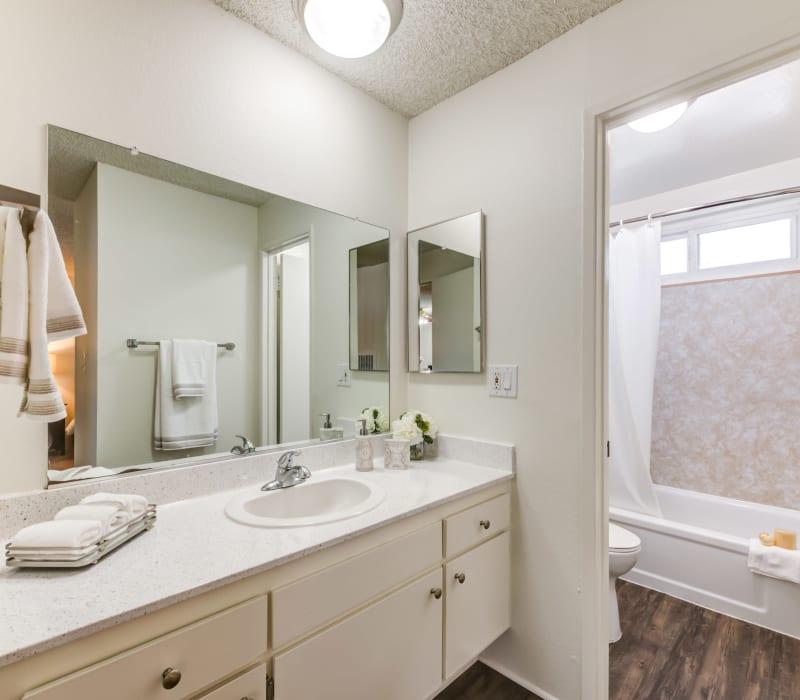 Bright bathroom at Cypress Point in Northridge, California
