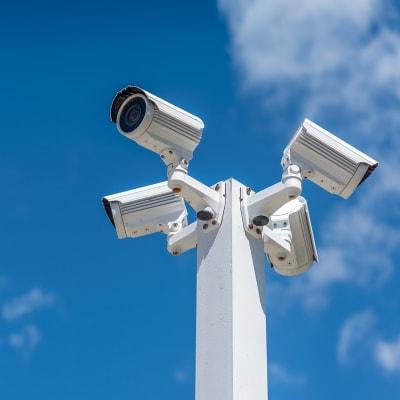 Digital security cameras at A-American Self Storage in Santa Fe Springs, California