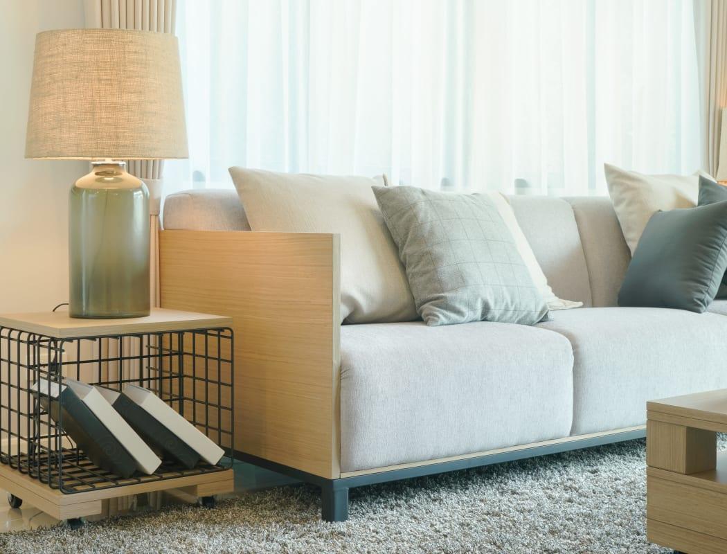 Bright model living room at Vista Pointe Apartments in Santa Clara, California
