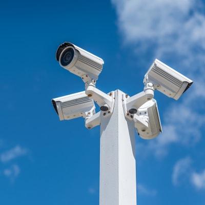 Digital security cameras at A-American Self Storage in Hemet, California