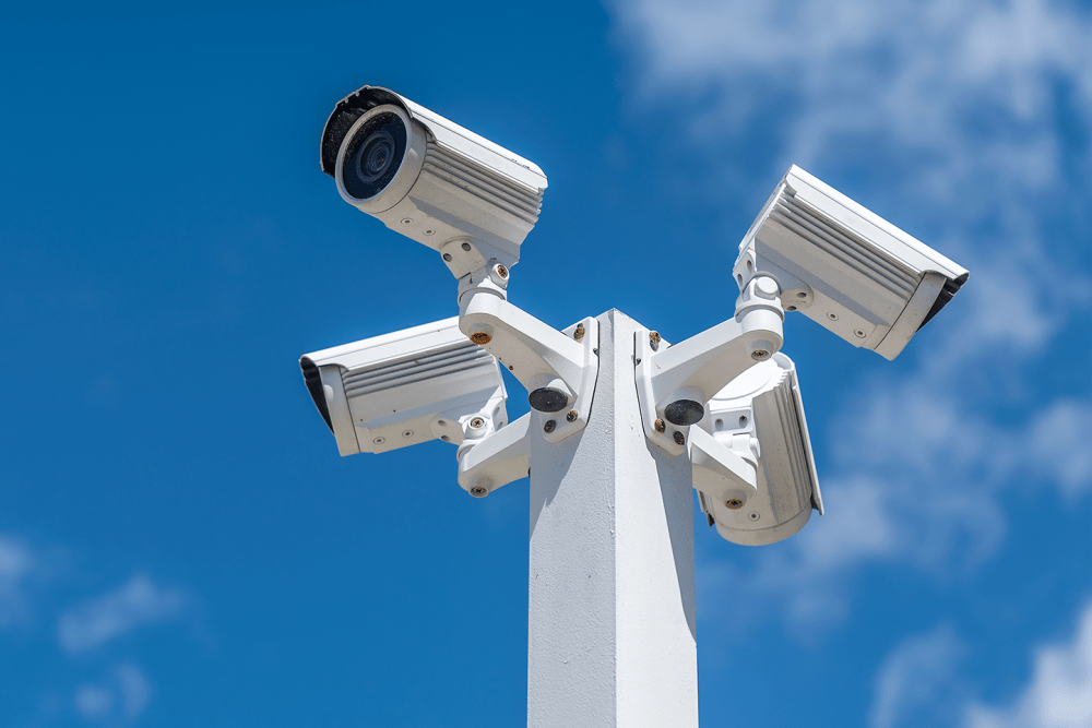 Security cameras mounted on a post at Airport Road Storage in Monterey, California
