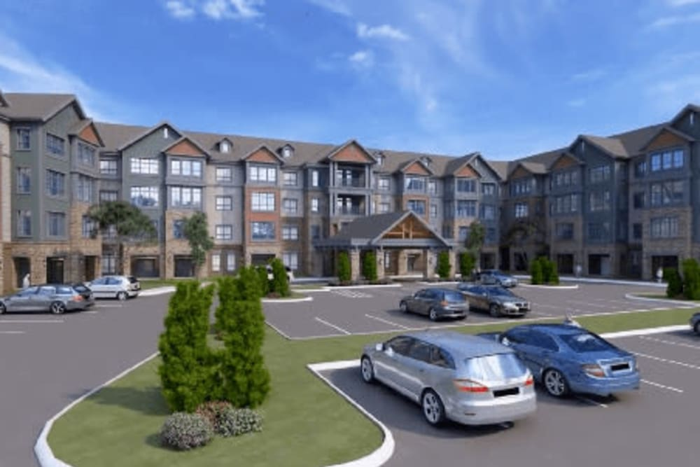 A rendering of cars in the front parking lot at Harmony at Greensboro in Greensboro, North Carolina