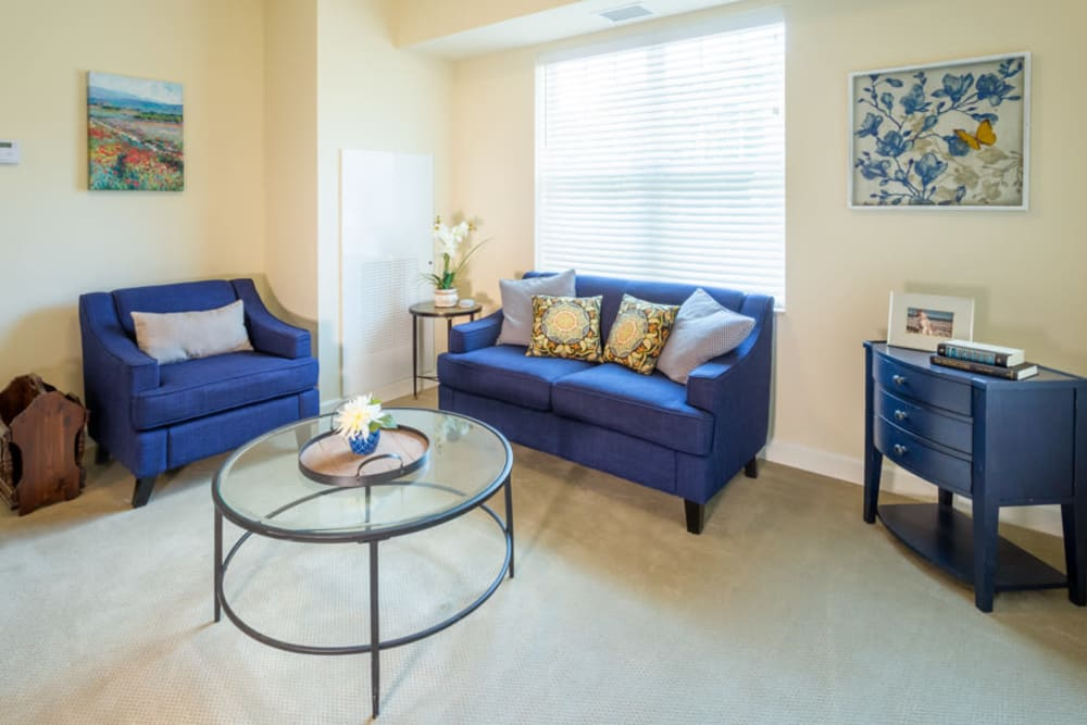 Living room at The Harmony Collection at Roanoke - Assisted Living in Roanoke, Virginia