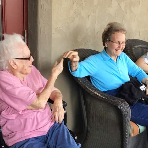 Residents socializing at Glen Carr House Memory Care in Derby, Kansas