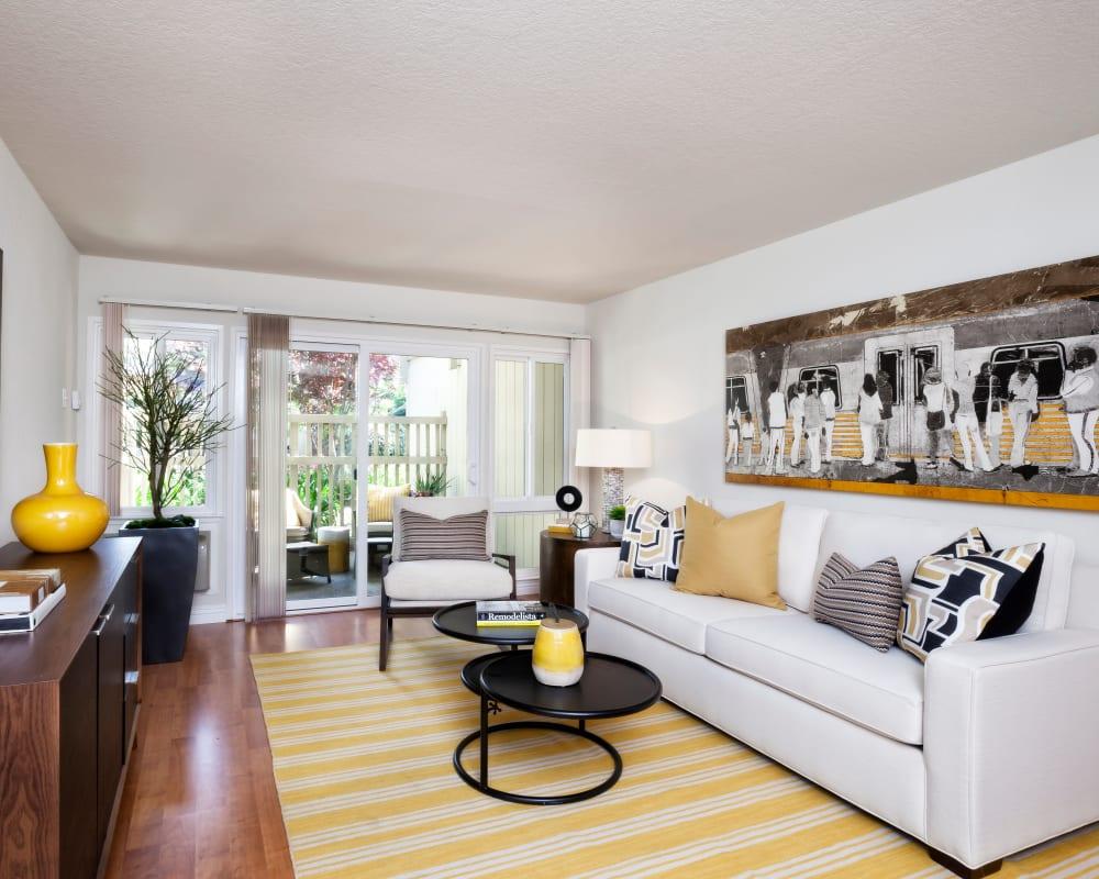 Spacious living room at Brookdale Apartments in San Jose, California