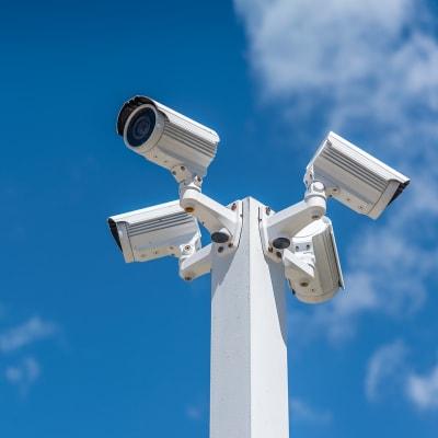 Digital security cameras at A-American Self Storage in Palmdale, California
