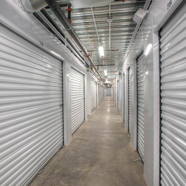 Indoor storage units at StorQuest Self Storage in Canoga Park, California