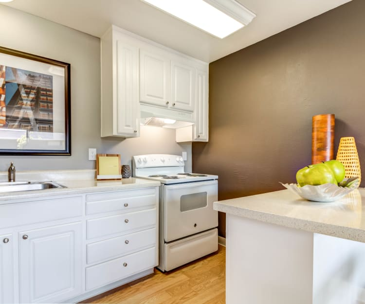 Modern kitchen with quartz countertops in a model home at The Landmark Apartment Homes in Sunnyvale, California