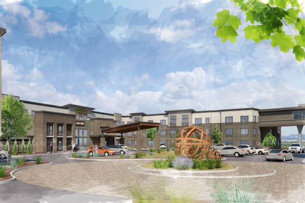 Exterior rendering of Brightwater Senior Living of Linden Ridge in Winnipeg, Manitoba
