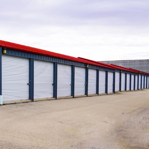 Outdoor storage units at Red Dot Storage in Malta, Illinois