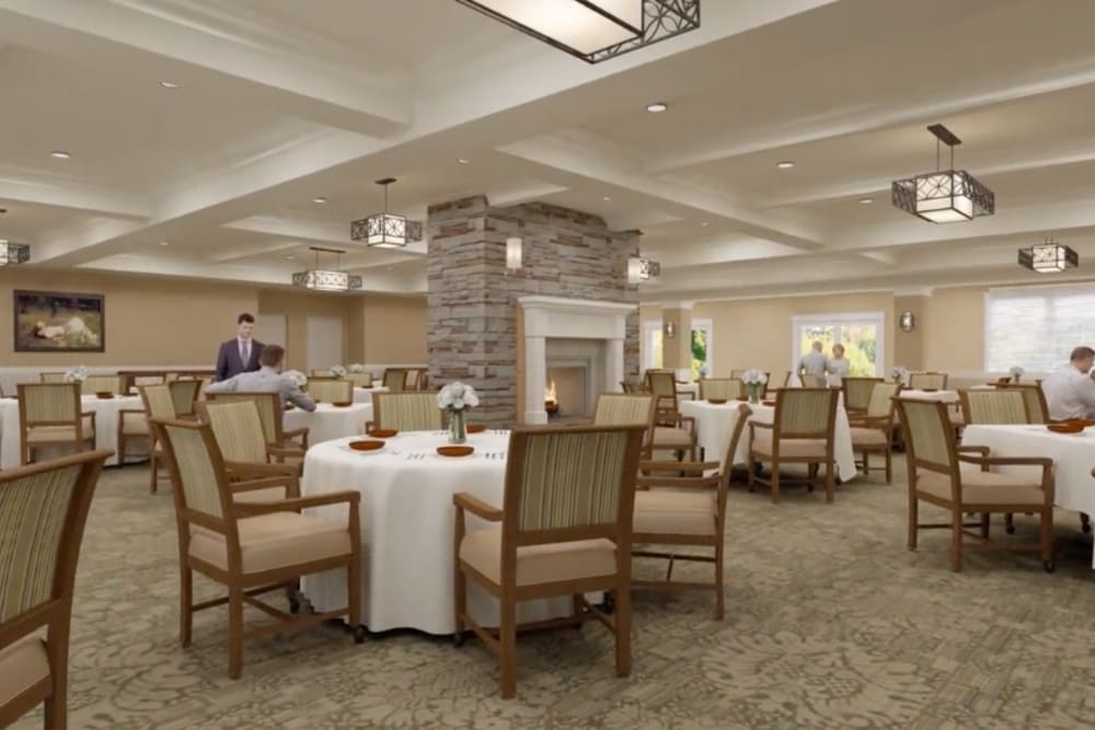 A rendering of well decorated dining room tables at Harmony at Greensboro in Greensboro, North Carolina