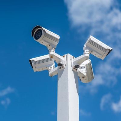 Digital security cameras at Sierra Vista Mini Storage in Bakersfield, California