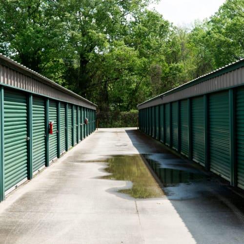 Outdoor storage units at Red Dot Storage in Denham Springs, Louisiana