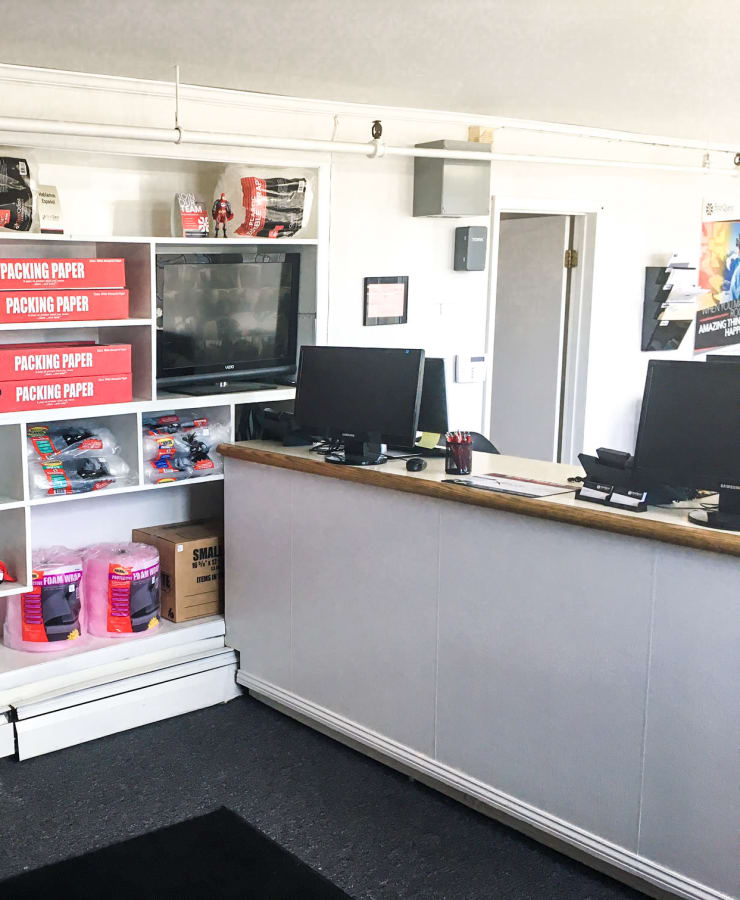 Interior of the leasing office at StorQuest Self Storage in Port Chester, New York
