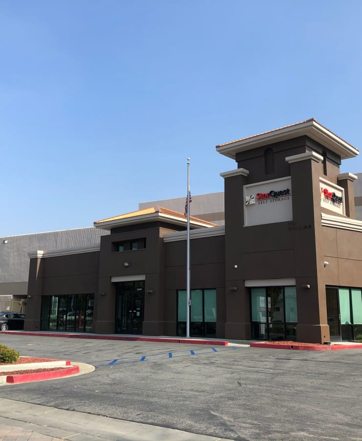 The exterior of the main entrance at StorQuest Self Storage in Carson, California