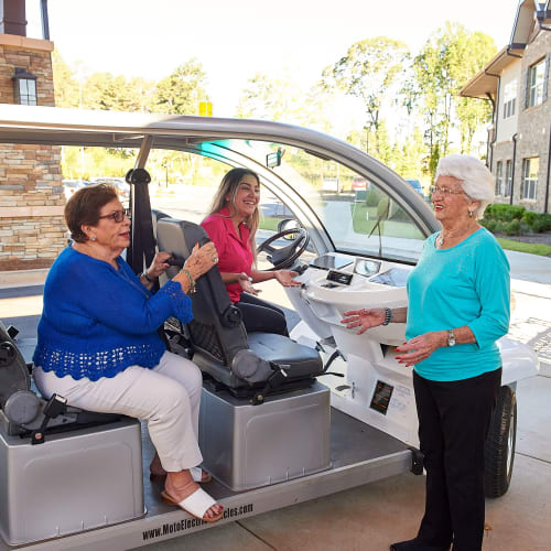 Golf cart shuttles available on request at The Crossings at Eastchase in Montgomery, Alabama