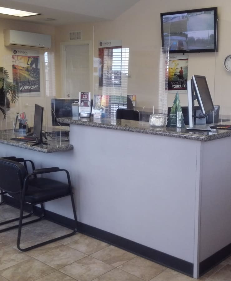 Interior of the leasing office at StorQuest Self Storage in Sugar Land, Texas
