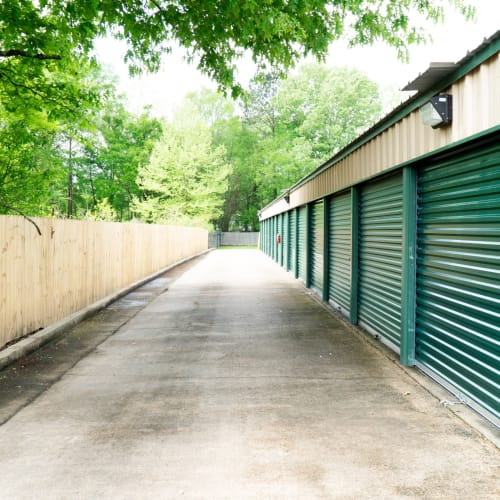 Outdoor storage units at Red Dot Storage in Denham Springs, Louisiana