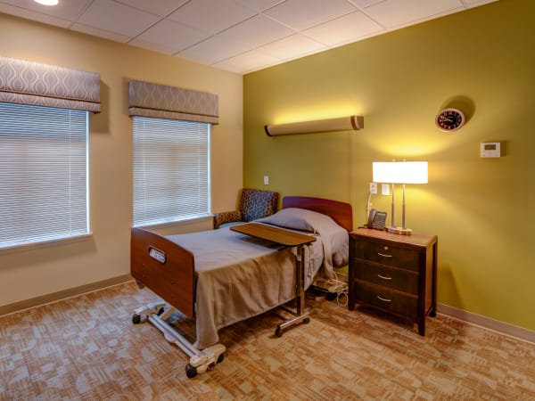 A resident bedroom at Mission Healthcare at Renton in Renton, Washington.