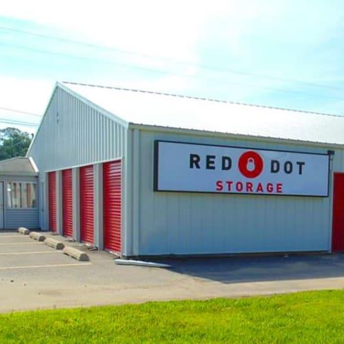 Outdoor storage units at Red Dot Storage in Whitehall, Ohio