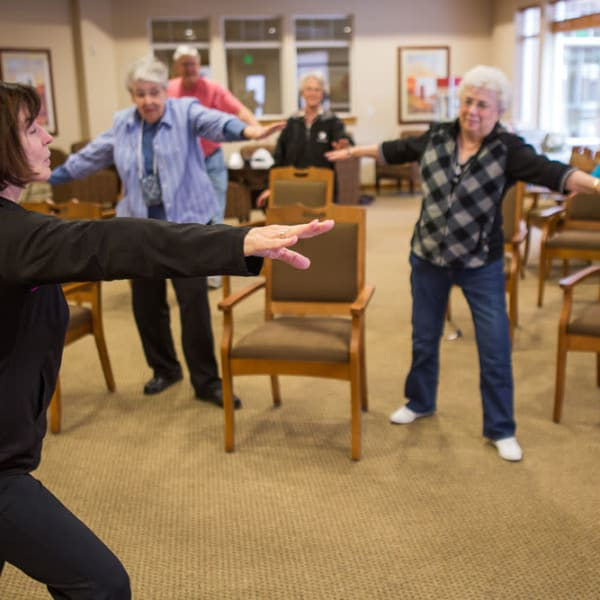Fitness class at Quail Park at Browns Point in Tacoma, Washington