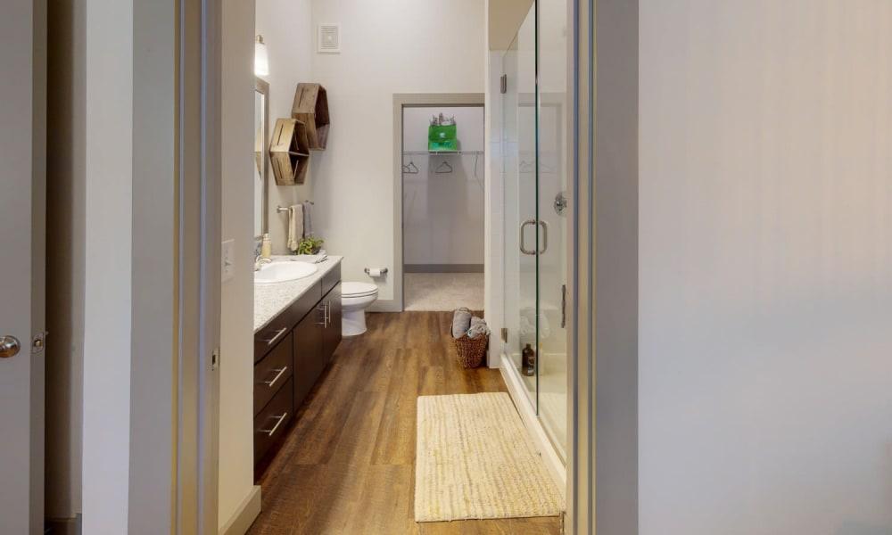 Model bathroom at Bellrock Upper North in Haltom City, Texas