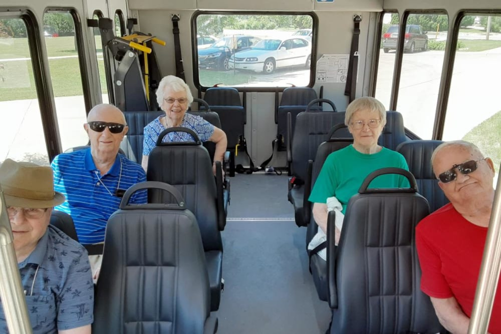Resident bus ride to local activity at Prairie Hills Senior Living in Cedar Rapids, Iowa.