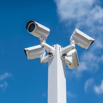 Digital security cameras at A-American Self Storage in Ridgecrest, California