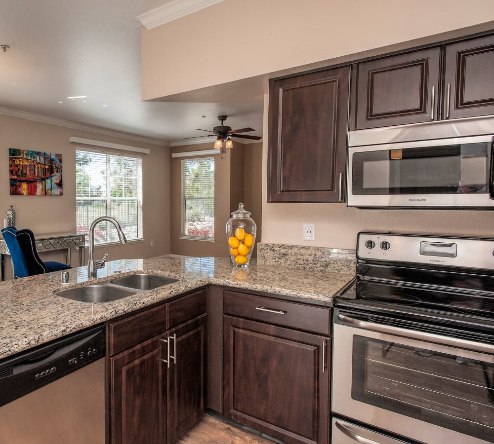 Spacious kitchen with lots of counter top space at The Vintage at South Meadows Condominium Rentals in Reno, Nevada