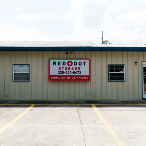 Entrance to office at Red Dot Storage in Denham Springs, Louisiana