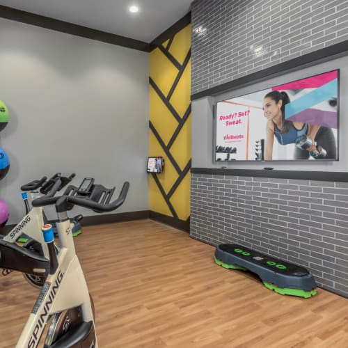 Modern fitness center with a flat-screen TV for workouts at The Palmer in Charlotte, North Carolina
