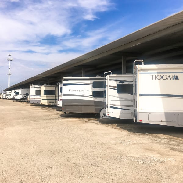 Covered RV parking at StorQuest Self Storage in Kyle, Texas