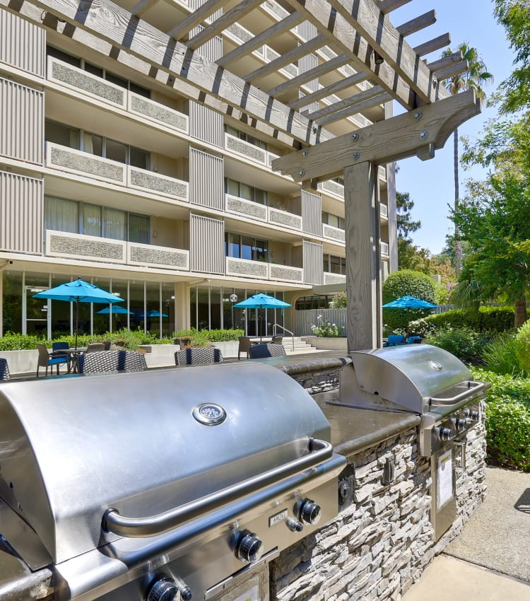 Two large outdoor gas-grills at The Marc, Palo Alto in Palo Alto, California