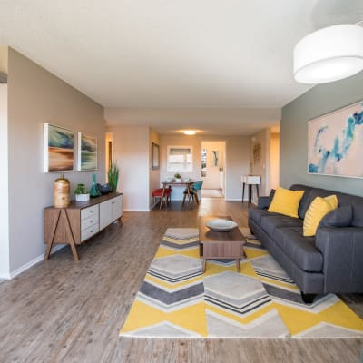Modern furnishings in the open-concept living area of a model home at Sofi Thousand Oaks in Thousand Oaks, California