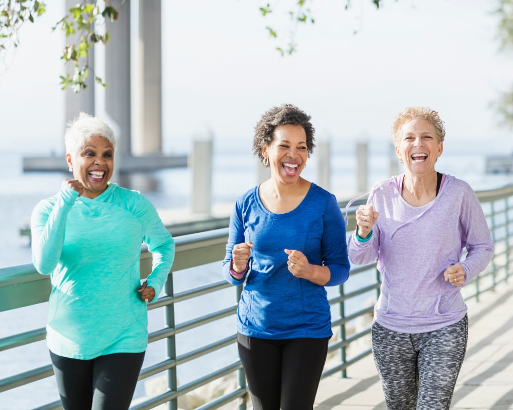 A group of residents jogging at The Harmony Collection at Columbia in Columbia, South Carolina
