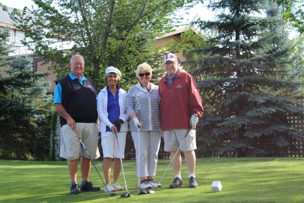 A group of residents golfing at Touchmark on South Hill in Spokane, Washington